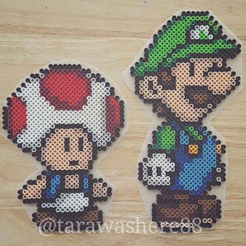 Luigi and Toad perler beads by tarawashere88