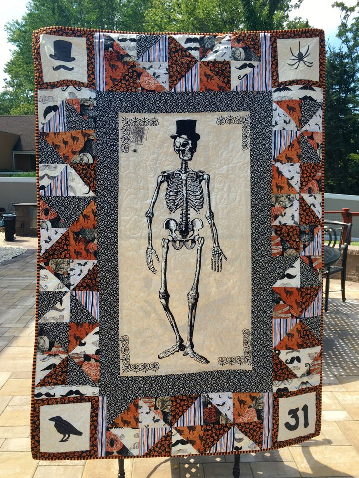 SOLD Mr. Chillingsworth Quilt, Halloween, cats, bats, top hat, mustache, raven, from my Etsy shop https://www.etsy.com/listing/476663663/mr-chillingsworth-halloween-top-hat-and