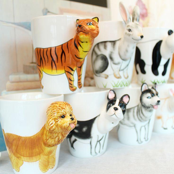 2017 Продвижение Новинка Стили 3D Животных Керамические Кружки 400 мл Молока Милый Кружка Кофе Чашки Чая Домашнего Офиса Drinkware Уникальный подарок(China (Mainland))