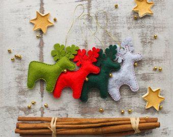 Vilt Kerst ornamenten set van 8 van MiracleInspiration op Etsy
