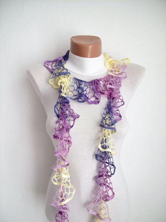 Purple Lilac Yellow Crochet Scarf  Frilly scarf by scarfnurlu