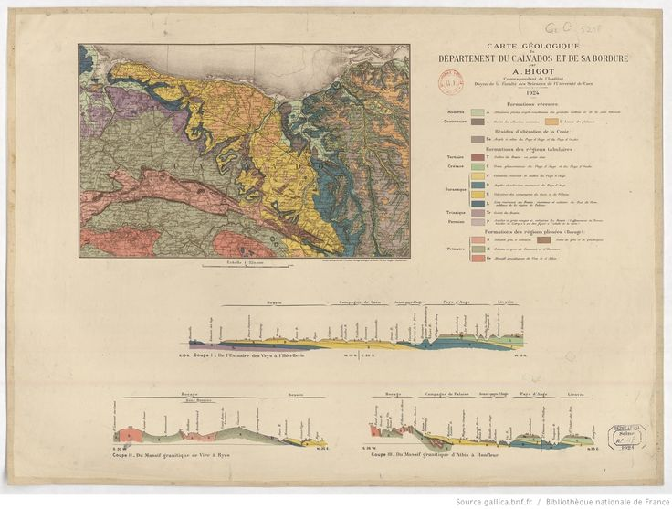 Carte géologique du département du Calvados et de sa bordure / par A. Bigot,...