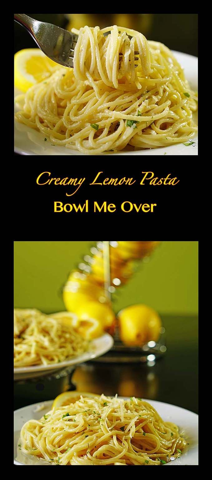 Creamy Lemon Pasta - Lemons, garlic, parmesan cheese, cream, olive oil and some spices - that's it! Bright flavors, fresh & easy #MeatlessMonday. Re-Pin to save this recipe!