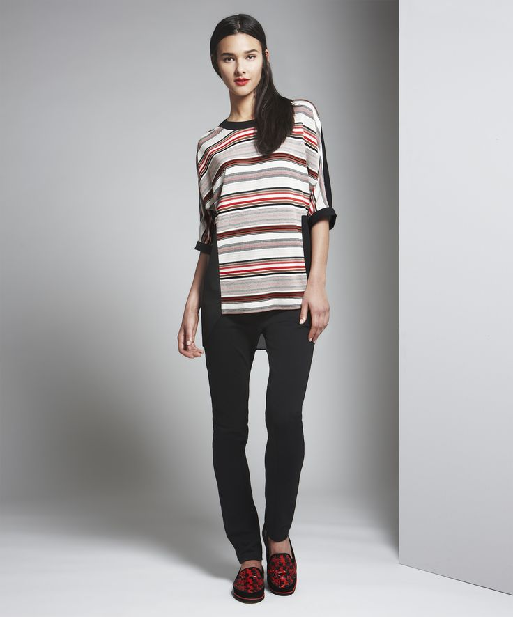 1) Black Tan and Brick Yarn Dyed Stripe Hi Lo Tunic 2) Black Brushed Cotton Phoebe Pant #WbyWorth #Winter2014 For information on how to order contact: mmasferrer@wbyworth.com
