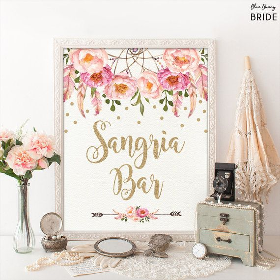 SANGRIA BAR Sign. Pink and Gold Boho Bohemian Bridal Shower Decor. DIY Wedding Decor. Sangria Drinks Decorations. Favor Signs.
