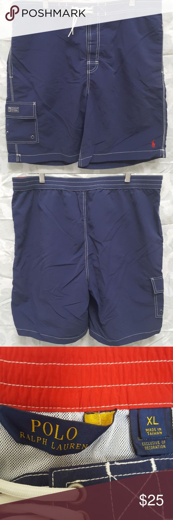 Mens Polo Ralph Lauren Indigo/Red Swim Shorts For sale is a used pair of  Mens Polo Ralph Lauren Indigo and Red Swim Shorts. they are a mens size X-large (38-40 waist)   Shell: 100% Nylon Lining: 100% Polyester  Shorts are in good used condition.  Offers welcomed using offer button.   NO TRADES.  NO LOWBALLING. Polo by Ralph Lauren Swim Board Shorts