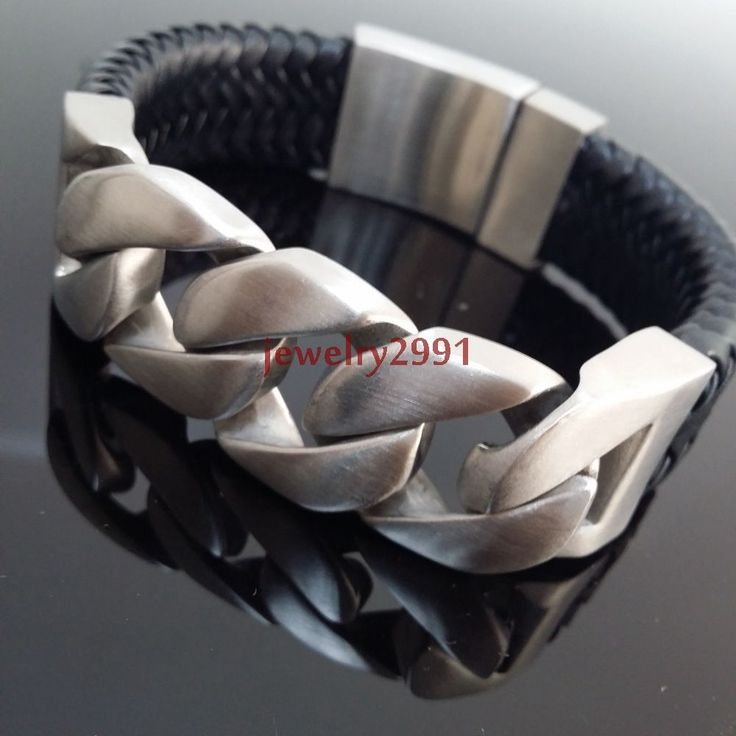 "new design men's jewelry stainless steel silver with leather bracelet 24mm9"" #Unbranded #Chain"