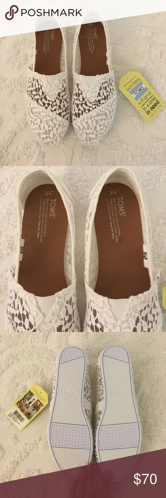 NWT TOMS White lace Tom's! Brand new - never worn. Super cute for wedding day! 💍👰🏼 TOMS Shoes Flats & Loafers
