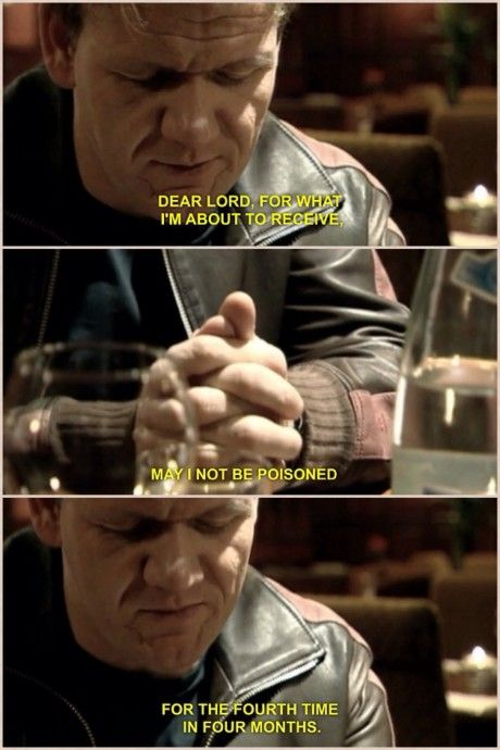 Gordon Ramsay saying his prayer