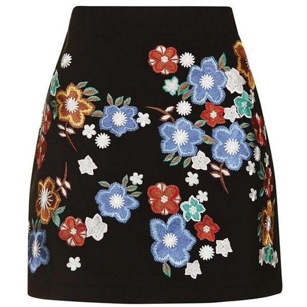 Women's Topshop 'Star Flower' Embroidered Miniskirt ($75) ❤ liked on Polyvore featuring skirts, mini skirts, юбки, short skirts, topshop skirts, cotton mini skirt, multicolor skirt and mini skirt