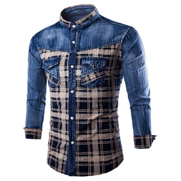 Casual Single Breasted Turn Down Collar Plaid Denim Shirt For Men