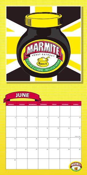 Marmite calendar page for 2014. Yellow white and brown union jake