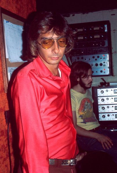 Barry Manilow in a recording studio, New York, circa 1978.