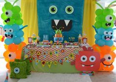 Colorful decorations at a monsters birthday party!