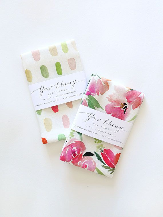 Floral Watercolor Tea Towels by YaoChengDesign