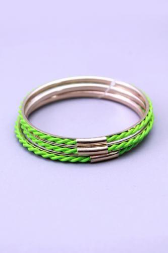 Neon Green Twisted Design High Polish Metal Bangle Bracelets