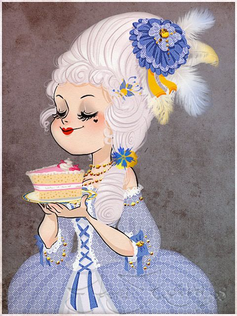 marie antoinette, with cake.
