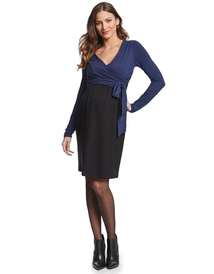 Navy & Black Maternity & Nursing Wrap Dress | Seraphine
