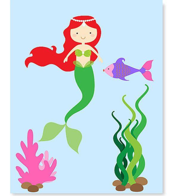 Fantasy Mermaid Nursery Art Nautical Nursery by SweetPeaNurseryArt, $15.00