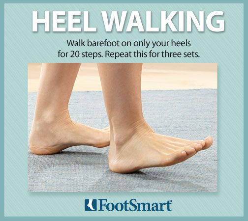 Try walking barefoot on only your heels for 20 steps. Repeat this for three sets to help strengthen your feet. #walking #barefoot #heel #exercise