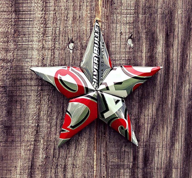 Upcycled Coors Light Beer Can Star Ornament by LicenseToCraft on Etsy https://www.etsy.com/listing/202438770/upcycled-coors-light-beer-can-star