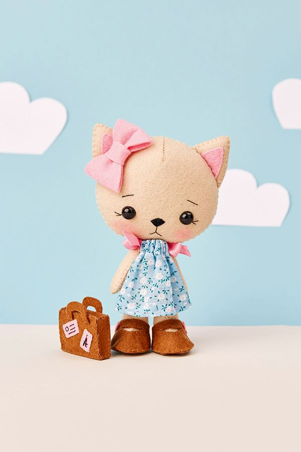 How to make a sweet felt kitten doll - free downloadable templates @ Mollie Makes for Gingermelon's adorable kawaii-inspired kitten plushie.