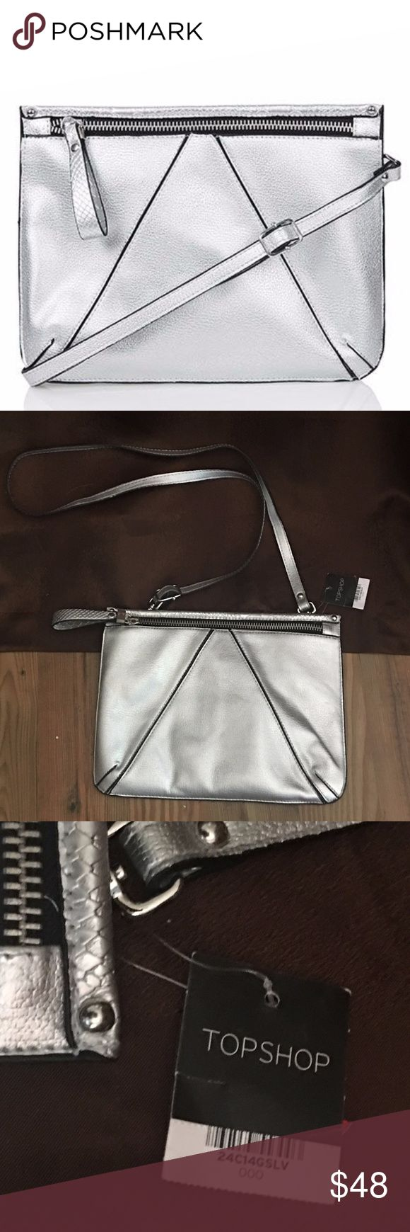 Topshop V-Panel Clutch Bag or  CrossBody  Silver A cool clutch. You can tote it to work, and then when you're off the clock, just remove the strap for an easy, clutch-like companion. SMOKE FREE HOME SHIPS SAME DAY Topshop Bags Crossbody Bags