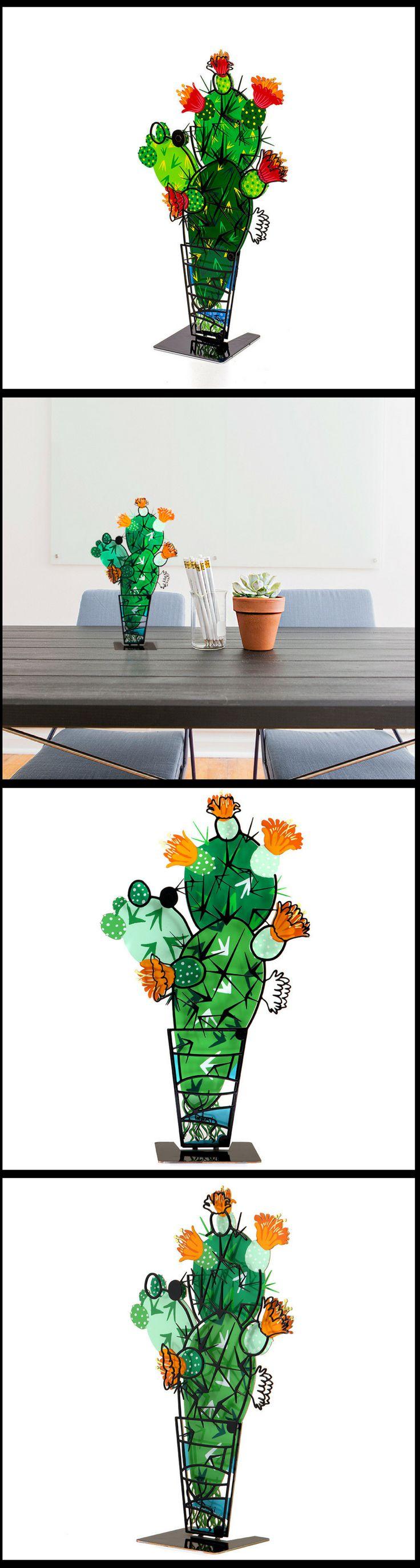 Metal Cactus 3D Sculpture - Home & Office Decor by Tzuki Art!