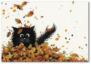 Black Cat Falling Autumn Leaves - ArT BiHrLe LE Print ACEO