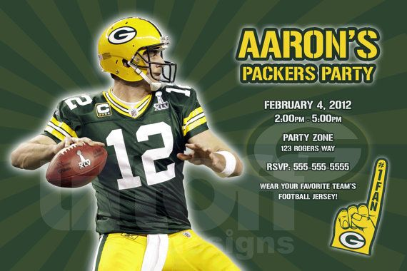 NFL Packers Football Birthday Party Invitation  by liftoffdesigns, $12.99