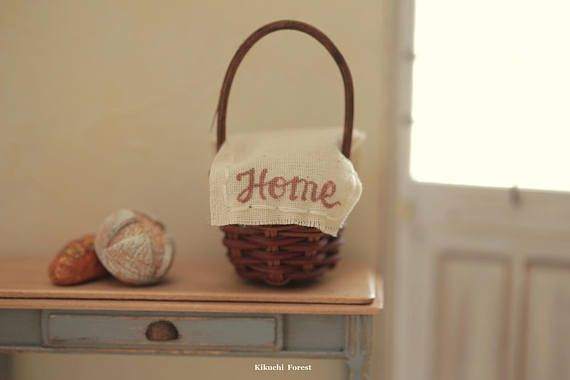 Miniature Food  Dollhouse Assorted Breadswith Rustic basket