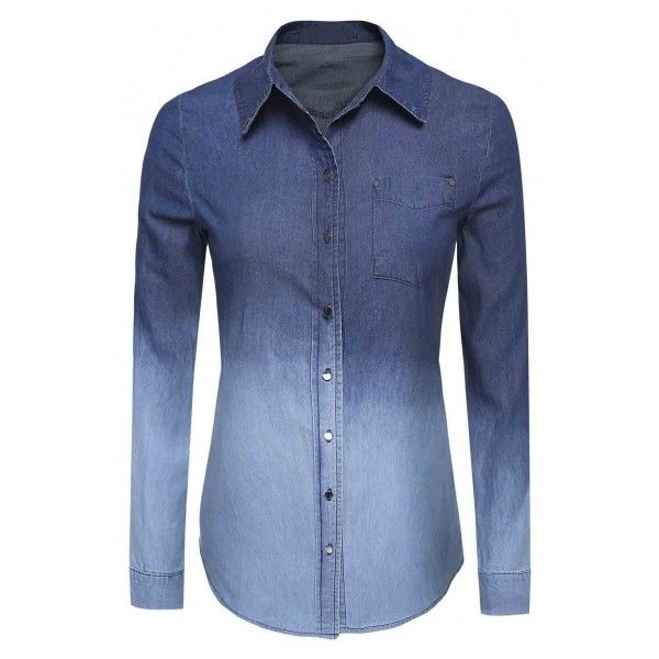 Women's Denim Gradual Jeans Single-Breasted Long Sleeve Shirt Blouse (1,000 THB) ❤ liked on Polyvore featuring tops, blouses, long sleeve shirts, denim button-down shirts, long-sleeve crop tops, blue button-down shirts and collared shirt