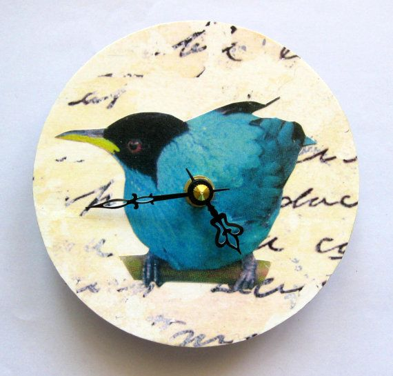 Small wall clock. Blue Bird. Shabby chic. Clock for a bird lover.