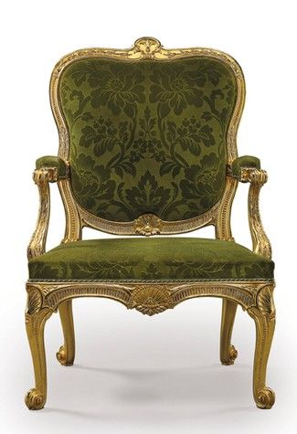 George III Giltwood chair: Velvet Chairs, Giltwood Chairs, Chairs Tables, George Iii, Giltwood Armchairs, Armchairs Design, Avocado Velvet, Olives Green, Iii Giltwood