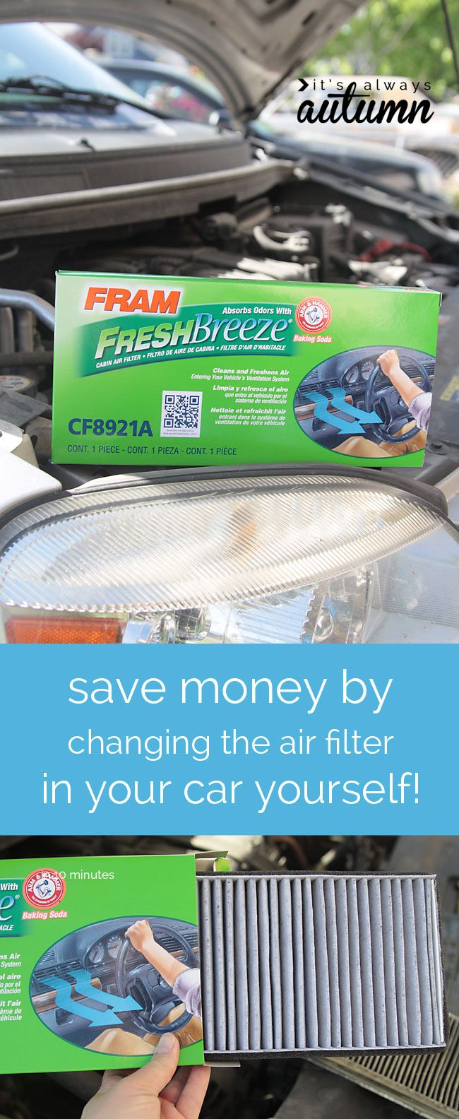 I just saved $30 changing the cabin air filter in my car myself - click through to find out how easy it is - it took less than 5 minutes! also $100 giveaway! #sponsored