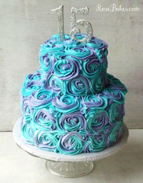 Teal & Lavender Swirled Buttercream Roses Cake