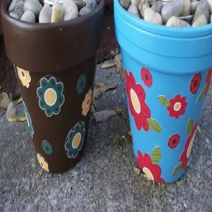 beautify your outdoor area with sterno can fire pots, crafts, outdoor living, Decorate a Terra Cotta or other fireproof pot