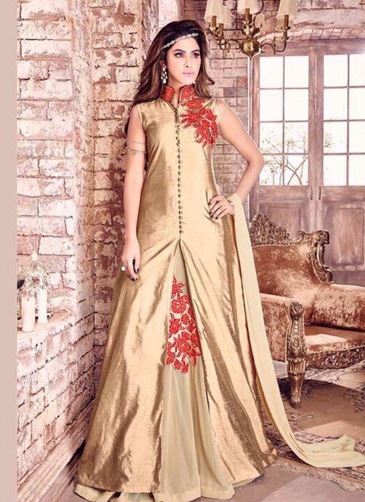 Buy Apparels- Beige Colour Bhagalpuri Silk Embroidery Work Designer Suit