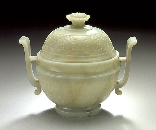 Lidded Incense Burner (Lu) in the Form of an Ancient Ritual Grain Server (Gui) with Interlaced Dragons, China, Late Qing dynasty, circa 1800-1911, Abraded jade