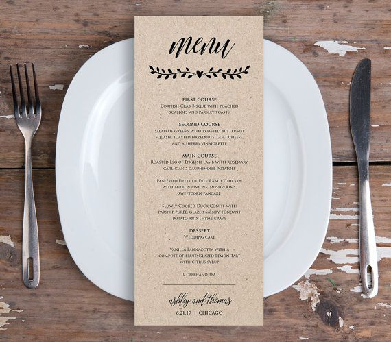 Printable Menu Card Template Rustic Wedding Dinner Fully Editable Instant Digital Diy Kraft Nc 106wm