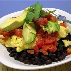 Black Bean Breakfast Bowl Allrecipes.com... We eat this at least twice a week.... We use egg whites instead of yellow..... Under 300 calories easy!