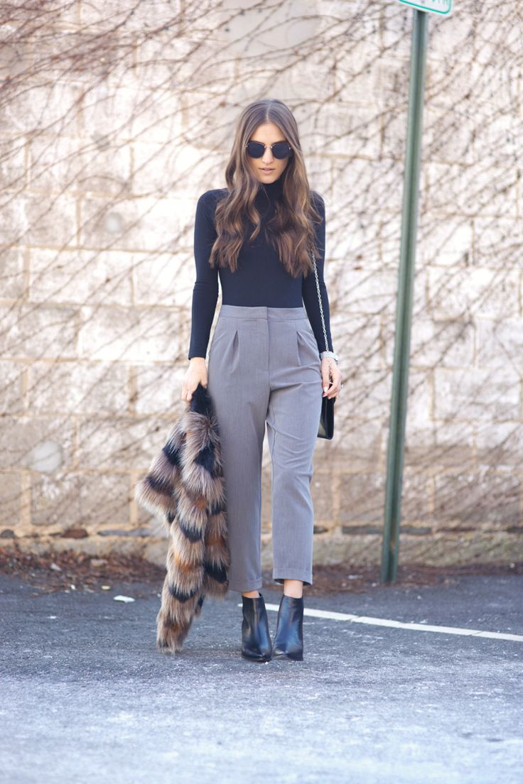 How To Style High Waisted Trousers Topshop Petite Grey Cigarette Pant Winter 2016