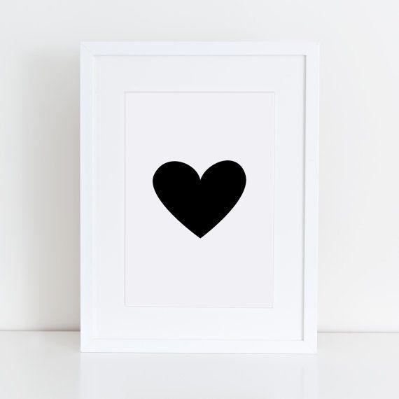 Heart in Black Solid Art Printables Love Heart Art von NORDICBUNNY