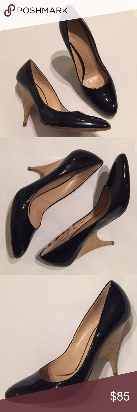 """Giuseppe Zanotti Patent Leather Wood Pumps 8.5 Giuseppe Zanotti Patent Pump with wooden heel  Has a tiny hole on outside of right heel as shoe Some nicks on each side of the heel   Size 38.5  US size 8.5 Heel height: approx. 4"""" Guiseppe Zanotti Shoes Heels"""