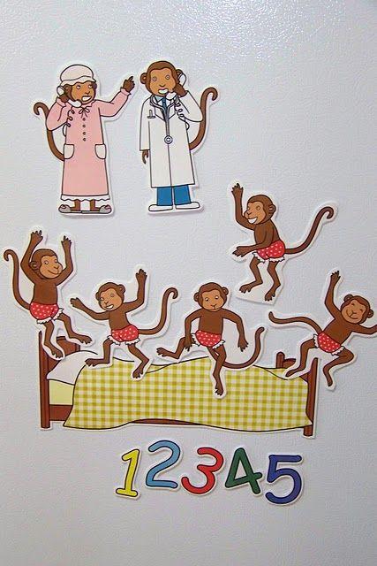 Five Little Monkeys Magnetic Story Props  www.doodlebugsteaching.blogspot.com