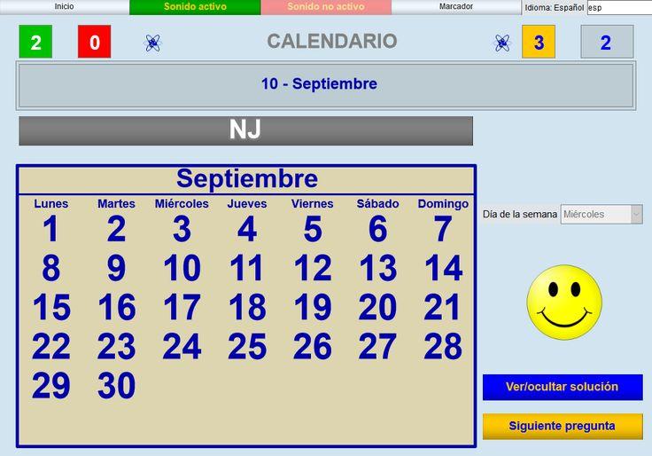 APLICACIÓN DE JUEGOS DIDÁCTICOS EN EL AULA. CALENDARIO V2 Juego consistente en aprender a usar un calendario.