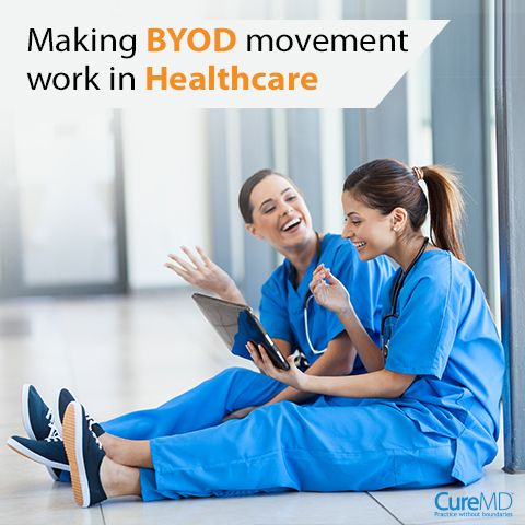 Bring-your-own-device or BYOD, is a relatively newer concept where employees of a particular organization are allowed to bring their own devices to work in order to access privileged company information and applications. - See more at: http://blog.curemd.com/making-byod-movement-work-in-healthcare/ #BringYourOwnDevice #PracticeManagement