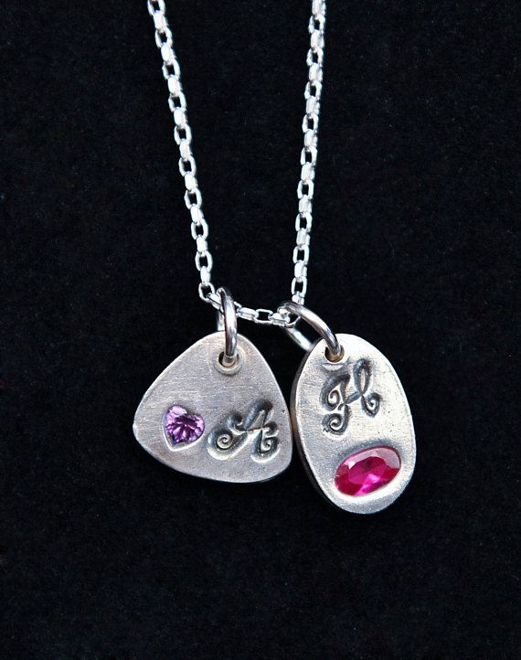 Silver Tiny Initial with Birthstone Pendant on a Sterling Silver Necklace - Get 10% OFF with coupon code PINIT when purchasing on Etsy