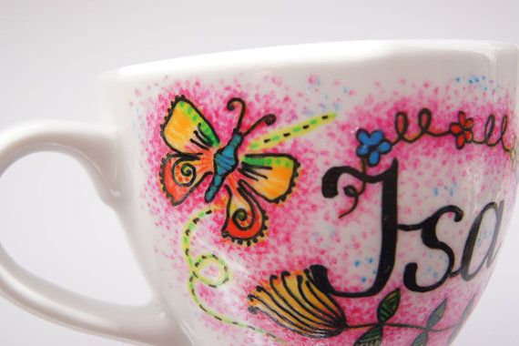 Personalized custom mug hand painted name cup cute by atelierChloe