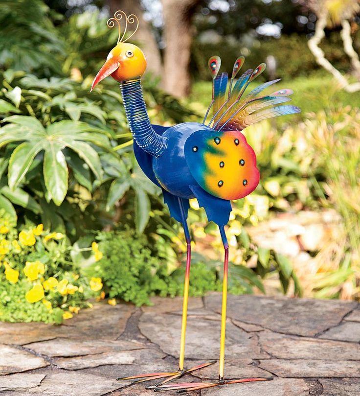 colorful peacock garden statue - Metallic Garden Decor